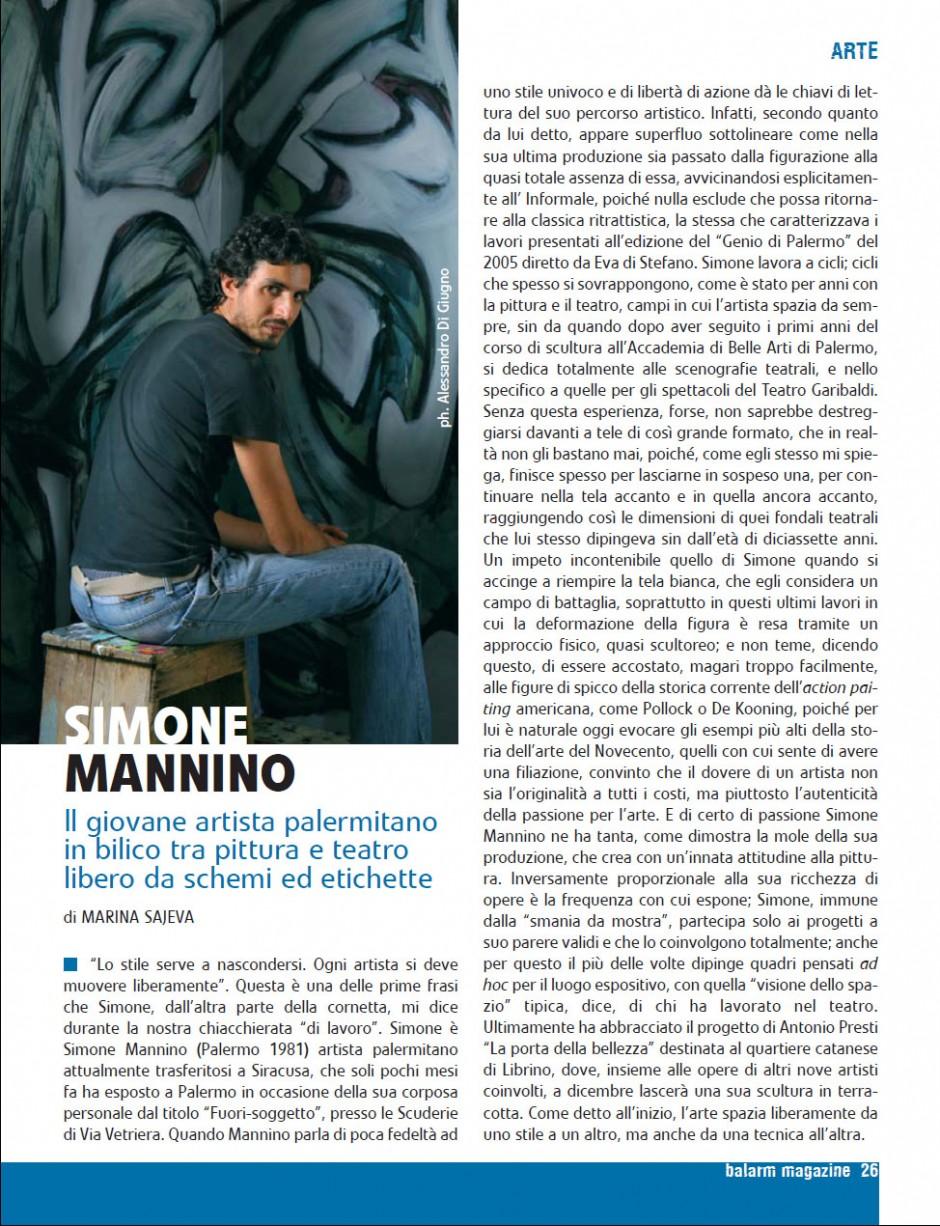 Balarm – Simone Mannino, il giovane artista palermitano in bilico tra pittura e teatro